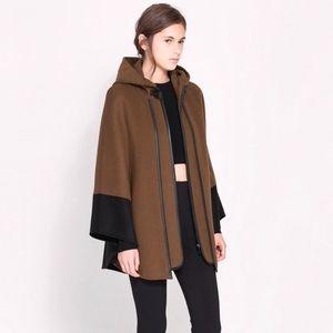 Zara Brown Black Trim Wool Hand Made Hooded Cape